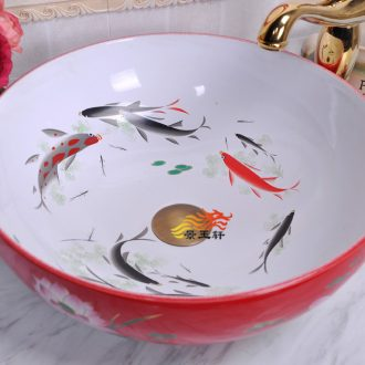 Jingdezhen ceramic art basin of red and white lotus pond carp basin ceramic basin to the stage of the basin that wash a face to the sink
