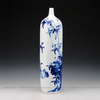 Jingdezhen ceramics hand - made modern minimalist art ground vase vase of blue and white sitting room adornment