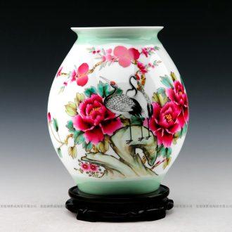 Master hand - made vases, jingdezhen ceramics powder enamel celebrities peony vases, modern furnishing articles of handicraft