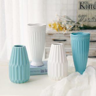 Ceramic stripes of European ideas sitting room adornment vase vase desktop small white vase fresh Nordic restaurant