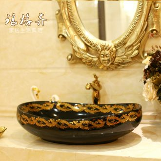 Happens the ellipse stage basin to jingdezhen ceramic lavabo lavatory basin art black wing chicken feather