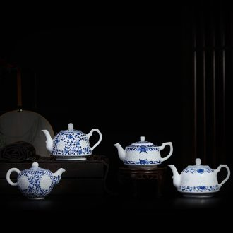 Jingdezhen blue and white and exquisite hand - made ceramic teapot kung fu tea tea is small with large tea kettle