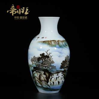 Famous master of jingdezhen ceramics hand-painted famille rose porcelain vase sitting room adornment is placed as a stream