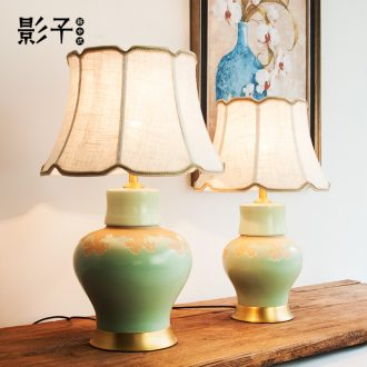 New Chinese style full copper ceramic desk lamp green pot - bellied I sitting room bedroom berth lamp hotel study desk lamp, 1060