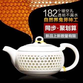 It still fang and exquisite watertight hollow out a whole set of crystal ceramics kung fu tea set and exquisite porcelain honeycomb teapot
