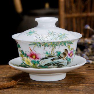 Jingdezhen ceramic kung fu tea tea hand-painted pastel three of the bowl bowl worship cups hot tureen tea cups