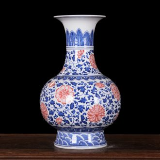 High-end antique kangxi porcelain of jingdezhen ceramics technological sitting room place lotus bottle of home decoration