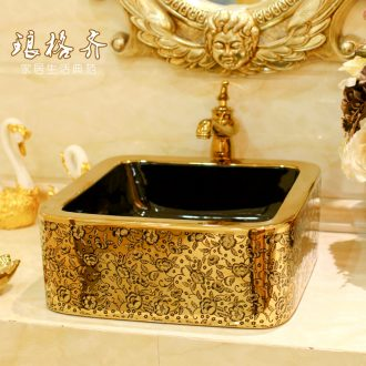 Post, neat square table bonsai, ceramic lavabo that defend bath lavatory basin art basin golden feather