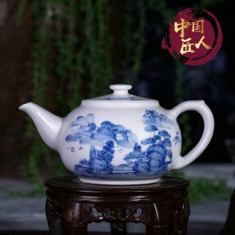 Jingdezhen ceramic hand - made porcelain kung fu tea set manual tea single pot of pu - erh tea tea kettle with tea