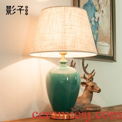 Full copper ceramic desk lamp tree American contracted and I sitting room the bedroom the head of a bed study hotel chandeliers, 1034