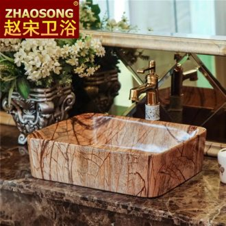 European square ceramic art on the sink imitation marble sinks hotel toilet tuba basin