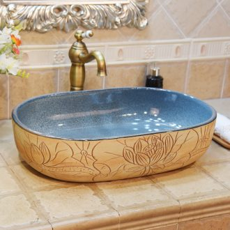 JingYuXuan jingdezhen ceramic art basin stage basin sinks the sink basin elliptic snowflakes kiln