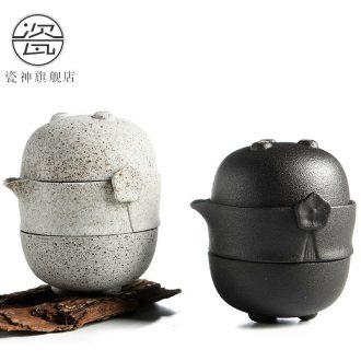 Japanese zen of black ceramic porcelain god travel kung fu tea set portable name plum guest crack cup a pot of two cup