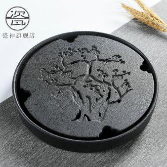 Household porcelain god kung fu tea set light key-2 luxury office ceramic teapot dry tea cups of black plate of tea tea