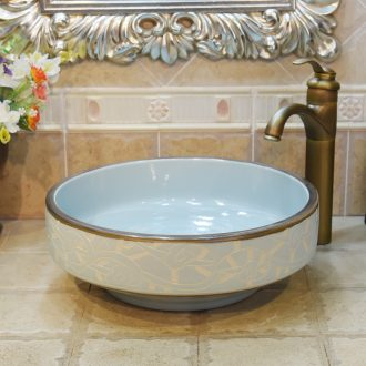Jingdezhen ceramic lavatory basin basin art on the sink basin basin admiralty pale blue carve patterns or designs on woodwork