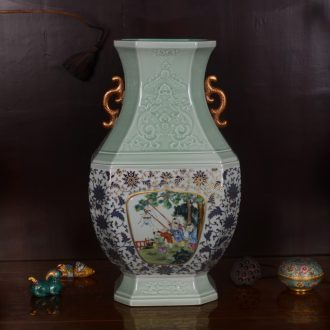 Jingdezhen ceramics imitation qing qianlong hand-painted shadow carving paint craft vase household adornment furnishing articles