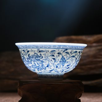 Jingdezhen ceramic masters cup hand-painted kung fu tea set of blue and white porcelain cup sample tea cup noggin individual cup