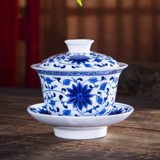 Jingdezhen ceramic cup three begin to grasp tureen large hand - made kung fu tea set of blue and white porcelain upset Chinese tea