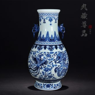 Jingdezhen ceramics hand - made double elephant ears in extremely good fortune of the big vase of blue and white porcelain classical home furnishing articles