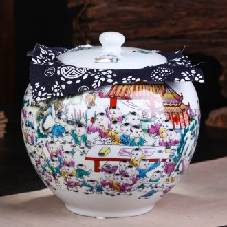Jingdezhen ceramic checking out seven loaves in pu 'er tea pot of tea packaging large moisture - proof seal pot
