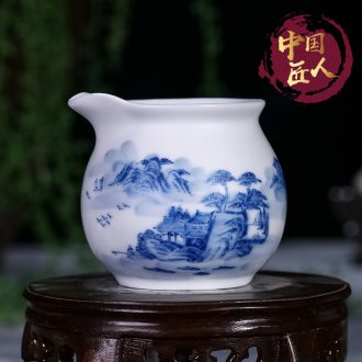 Jingdezhen ceramic fair hand - made of CPU manual landscape and kung fu tea tea points sea of blue and white porcelain tea