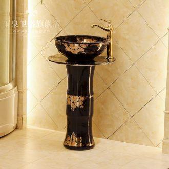 Jingdezhen ceramic stage basin art basin stage basin to toilet lavabo balcony column basin suit