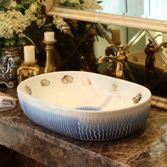 Jingdezhen sanitary ceramics stage basin art elliptic toilet lavatory sink European Mediterranean