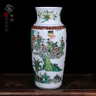 Jingdezhen ceramic vases, antique hand-painted pastel qing shunzhi year vase household decorates sitting room furnishing articles