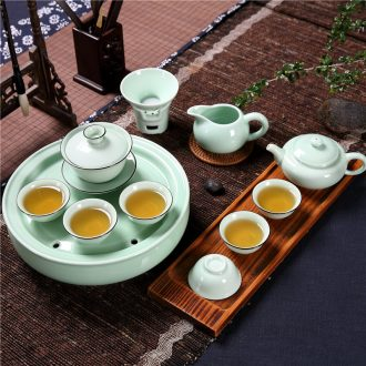 Qiu childe household celadon ceramics chaoshan kunfu tea of a complete set of small tea set teapot teacup water tea tray