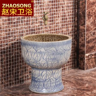 European household ceramics restoring ancient ways conjoined basin of Chinese style mop mop pool balcony floor mop pool size 40 cm