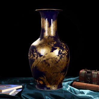 Jingdezhen ceramic vase high-end antique qianlong ji blue colour bottle home decoration craft flower glaze furnishing articles