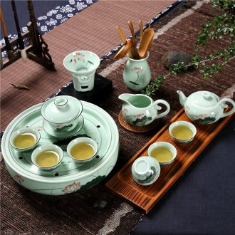 Qiu time household celadon hand - made chaoshan kungfu tea sets tea cup teapot ceramic circle water storage of a complete set of ground