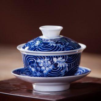Jingdezhen ceramic tureen manual hand-painted blue and white porcelain cups hand grasp three bowl to bowl kung fu tea set