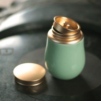 Longquan celadon porcelain tea pot home mini portable sealed metal small caddy puer tea warehouse on business
