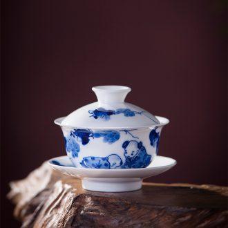 Jingdezhen ceramic hand-painted tureen blue-and-white kung fu tea set three to bowl and tea cups, tea table joker