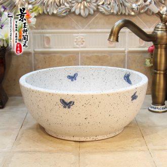 Jingdezhen ceramic art basin matt frosted blue butterfly sanitary ware bowl lavatory basin on stage