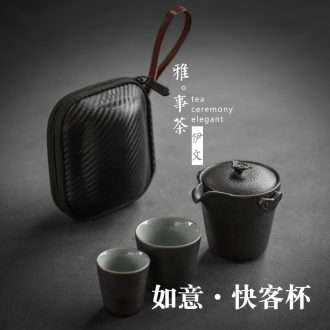 Evan ceramic cup to crack a pot of two cups of portable travel office simple ceramic teapot tea tea set