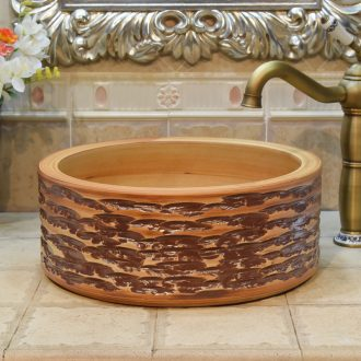 Jingdezhen ceramic lavabo stage basin, art basin sinks straight in yellow brown coffee