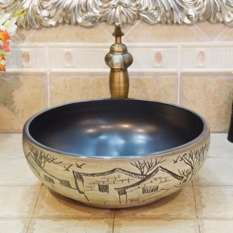 Jingdezhen ceramic lavatory basin basin art on the sink basin water village house in town