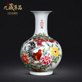 Jingdezhen ceramics vase hand-painted pastel prosperous sitting room of Chinese style household adornment gift porcelain collection