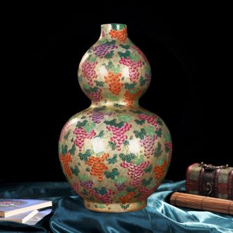 Jingdezhen ceramics high-end antique gold grape bottle gourd vases home decoration process sitting room place