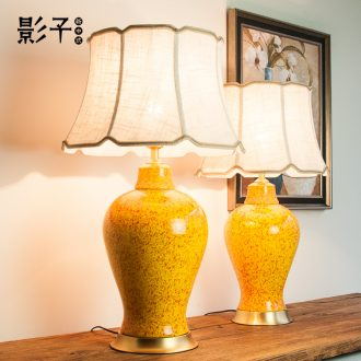 Ceramic table lamp full copper American general yellow as cans hotel lobby large sitting room bedroom berth lamp 1051 study