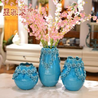 Murphy, I and contracted hand knead ice crack glazed pottery flower arranging furnishing articles simulation flower art porcelain vase north European style living room decoration