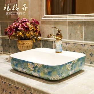 Square table basin wash gargle on the sink Europe type lavatory toilet stage basin ceramic art basin home