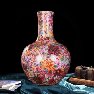 Jingdezhen ceramics into a high-end antique gold silk flower live celestial sitting room place vase home decoration process