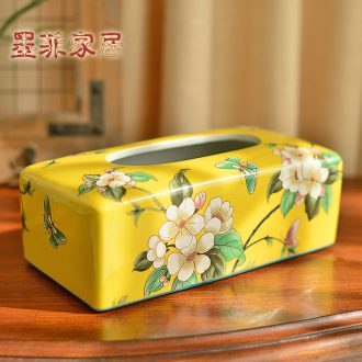Murphy 's new Chinese style classical checking ceramic tissue box American country decorates sitting room tea table restaurant smoke box