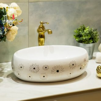 Ceramic basin stage basin sinks art circle European - style hand - made toilet lavabo, the see flower