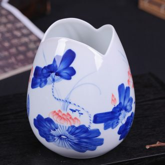 Jingdezhen blue and white ceramics hand - made vases, flower arranging dried flower flower implement furnishing articles of Chinese style living room TV cabinet decoration