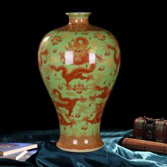 Jingdezhen ceramics high-end antique pea green paint sitting room place five three vases, home decoration process