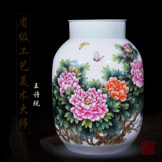 Jingdezhen ceramics Wang Shixian handpainted national color peony vase decoration handicraft furnishing articles in the living room